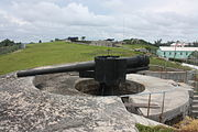BL 6 inch rifle, with two BL 9.2 inch rifles beyond, at St. David's Battery, Bermuda, 2011