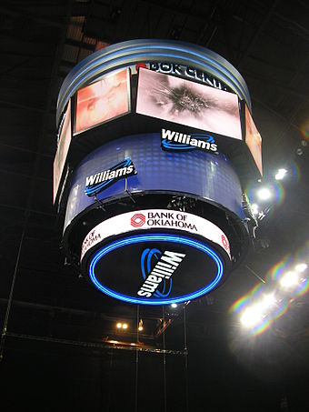 The BOK Center's 30-by-33-foot (9.1 m x 10.1 m) scoreboard was funded with $3.6 million in private donations. BOK Center Scoreboard.JPG