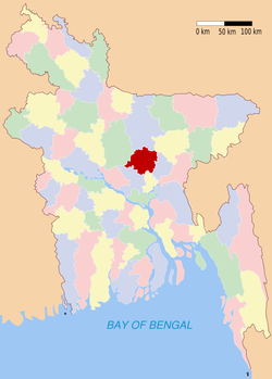 Location of Gazipur in Bangladesh