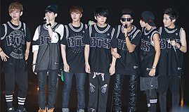 Bangtan Boys at a fanmeeting on Music Bank in July 2013 02.jpg