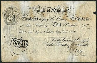 Frank May - A Frank May signed Bank of England £10 banknote of 1888.