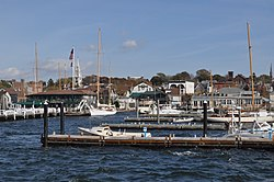 Bannister's Wharf in Newport, RI from bay.JPG