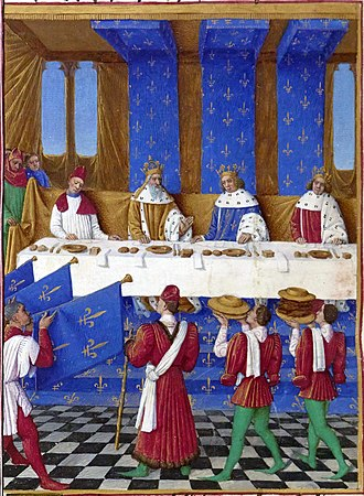 Medieval cuisine - Banquet given in Paris in 1378 by Charles V of France (center, blue) for Charles IV, Holy Roman Emperor (left) and his son Wenceslaus, King of the Romans. Each diner has two knives, a square salt container, napkin, bread and a plate; by Jean Fouquet, 1455–60.
