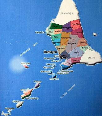 Bantayan, Cebu - Map showing barangays and islands