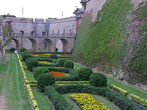 Montjuïc Castle - The fortifications are now extenively planted with parterre gardens