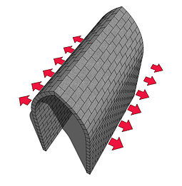 Pointed barrel vault showing direction of lateral forces Barrel vault top force.jpg