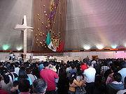 Inside the Basilica of Guadalupe in Monterrey, Mexico.