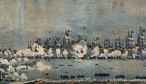 Battle of Lake Maracaibo - Depiction of the battle from c. 1830
