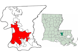 Location of Baton Rouge in East Baton Rouge Parish, Louisiana