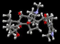 Ball-and-stick model of the batrachotoxin molecule