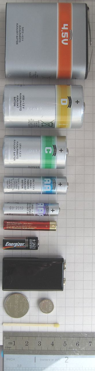 Electric battery - From top to bottom: a large 4.5-volt (3R12) battery, a D Cell, a C cell, an AA cell, an AAA cell, an AAAA cell, an A23 battery, a 9-volt PP3 battery, and a pair of button cells (CR2032 and LR44)