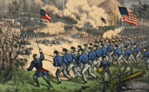 Battle of Cedar Mountain - The battle at Cedar Mountain, by Currier and Ives