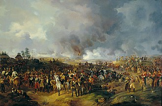 Battle of Leipzig - Russian, Austrian, and Prussian troops in Leipzig.  Painting by Alexander Sauerweid