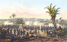 A painting of the Battle of Veracruz showing the US artillery bombarding of the distant port.