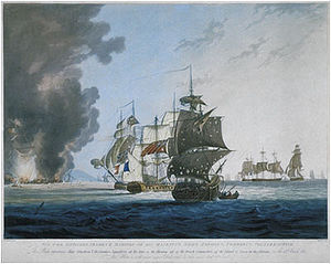 Timeline of the Adriatic campaign of 1807–14 - The Battle of Lissa. Engraving by Henri Merke after a painting by George Webster, 1812