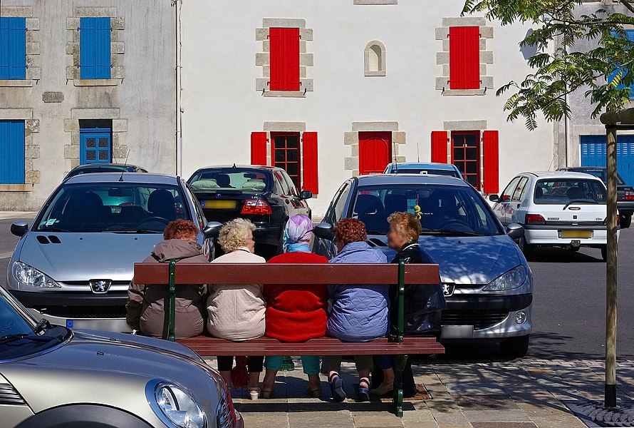 Facades and street bench, Batz-sur-Mer, Loire-Atlantique, France.