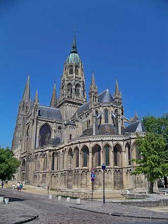 Bayeux Tapestry - Bayeux Cathedral, home of the tapestry in the middle ages and until the beginning of the 19th century
