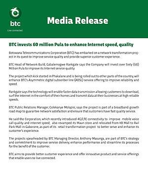 Botswana Telecommunications Corporation - Image: Be mobile media release