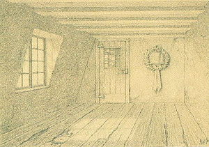 Beethoven House - Reiner Beißel: Room where Beethoven was born (drawing/1889)