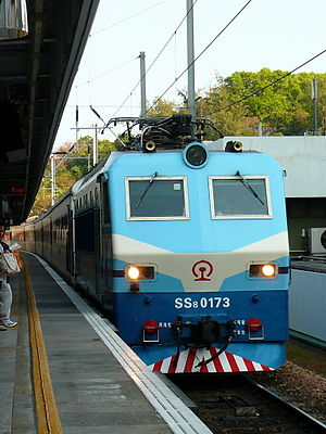 Inter-city rail - Beijing-Kowloon Through Train, hauled by a SS8 electric locomotive, passing through Tai Po Market Station in Hong Kong