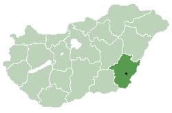 Location of Békés County in Hungary