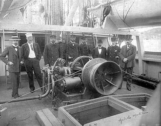 Belgian Antarctic Expedition - Pre-purchase inspection of the Belgica. From left to right: de Gerlache, Nansen, Somers, Danco, Amundsen, Bryde, Van Rysselberghe, Andvord.