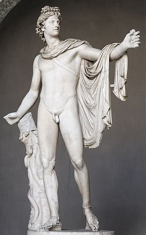 Classical sculpture - Leochares: Belvedere Apollo. Roman copy of 130–140 AD after a Greek bronze original of 330–320 BC. Vatican Museums