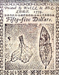 Benjamin Franklin nature printed 55 dollar back 1779