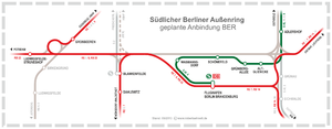 Waßmannsdorf station - Map showing the new connections in the area (Waßmannsdorf is shown in the middle)