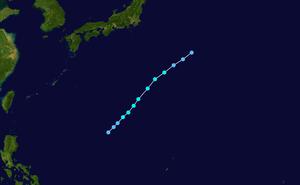 1945 Pacific typhoon season - Image: Betty 1945 track