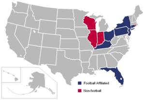 Big East Conference (1979–2013) - Image: Big East USA states