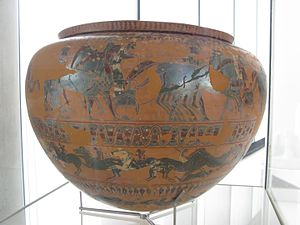 Painter of Acropolis 606 - The Painter of Acropolis 606's name vase, a dinos, discovered at the Athenian Acropolis