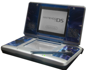 Nintendo DS launch - A Nintendo DS, skinned in blue.