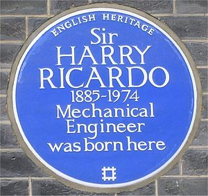 Harry Ricardo - Blue plaque on 13 Bedford Square, London