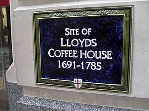 Lombard Street, London - Blue plaque marking the location of Lloyd's Coffee House, notable in the development of the City's insurance market.