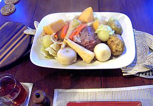 New England boiled dinner - New England boiled dinner with cabbage, potato, white turnip, rutabaga, carrot, onion, and parsnip
