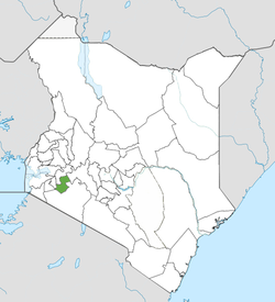Location of Bomet County (Green)