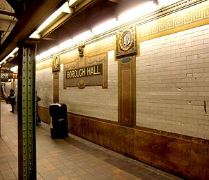 Court Street–Borough Hall (New York City Subway) - Station identification mosaic and cartouches