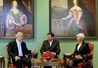Jadranka Kosor - Prime Minister Jadranka Kosor with Serbian President Boris Tadić and Slovenian Prime Minister Borut Pahor.