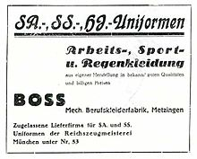 df35dabaf 1933 ad placed by Hugo Boss for Nazi uniforms, work, sports and rainwear.