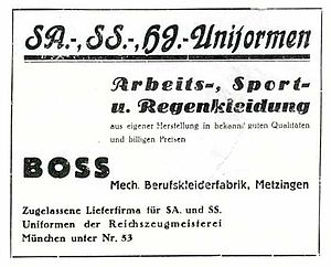 Hugo Boss - 1933 Ad placed by Hugo Boss for National Socialist uniforms, work- sports- and rainwear.
