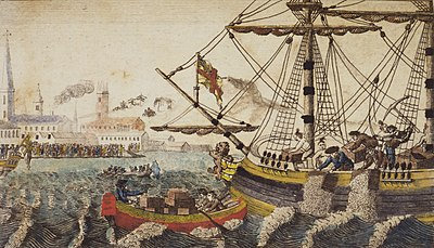 In 1773, a group of Boston rebels threw a shipment of tea by the British East India Company into Boston Harbor as a response to the Tea Act, in an event known as the Boston Tea Party. Boston Tea Party w.jpg