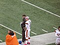 Brandon Weeden on sidelines vs Giants, 2012.jpg