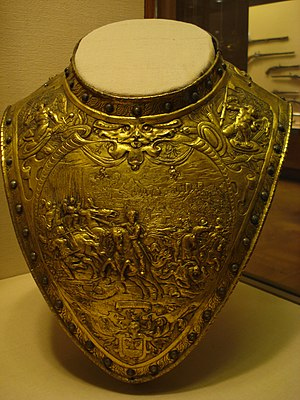 Gorget - Elaborately decorated gilt-brass gorget of c. 1630, probably Dutch