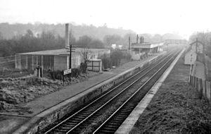 Bricket Wood railway station - View southwest toward Watford Junction in 1961