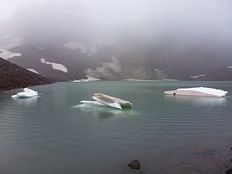 Broken Top - Icebergs in a small, unnamed glacial lake near the summit of Broken Top.