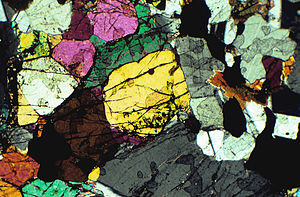 Bronzite - Bronzitite, thin section of a rock made of olivine and pyroxene, mostly bronzite. Photomicrograph, viewed with polarized light.