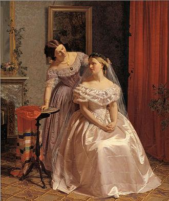 Henrik Olrik - The Bride is embellished by her girl friend, 1859, Danish National Gallery