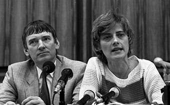 Petra Kelly with Otto Schily at a press conference after the federal election in 1983