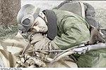 Bundesarchiv Bild 101I-587-2253-31, Soldat (Fallschirmjäger), schlafend auf Krad Recolored.jpg